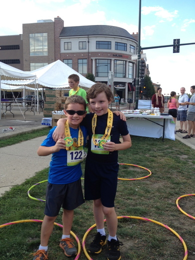 The boys at the finish of the Fox Valley Kids Marathon
