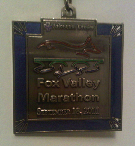Finisher's medal for the 2011 Fox Valley Marathon