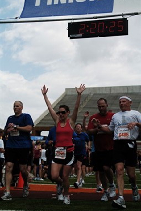 Becky at the finish line