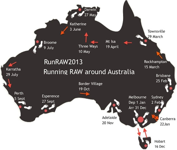 Janette Murray-Wakelin, 64, and Alan Murray, 68, ran a marathon every day in 2013 while circling Australia. (Click for original source.)
